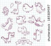 funny cartoon dragon set in... | Shutterstock .eps vector #185309597