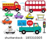 car parade and road sign icons... | Shutterstock .eps vector #185310305