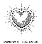 Heart With Rays. Vector Black...