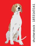 english pointer on red... | Shutterstock .eps vector #1853165161