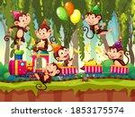 many monkeys in party theme in...   Shutterstock .eps vector #1853175574