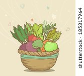 cute basket with hand drawn... | Shutterstock . vector #185317964