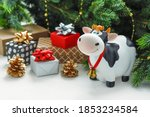 Toy bull with gifts  on the...