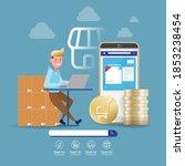 online shopping on mobile... | Shutterstock .eps vector #1853238454