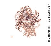 flying bird and floral paisley... | Shutterstock .eps vector #1853256967