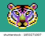 colorful cute pixel tiger...