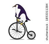 cute cartoon penguin riding a...   Shutterstock .eps vector #1853311384
