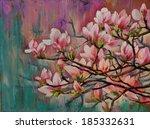 oil painting   sakura branch on ... | Shutterstock . vector #185332631
