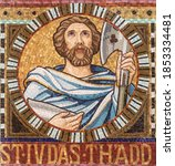 Small photo of VIENNA, AUSTIRA - OCTOBER 22, 2020: The detail of apostle St. Jude Thaddeus from mosaic of Immaculate Conception in church Pfarrkirche Kaisermuhlen.