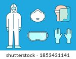 protective suit  mask  gloves ... | Shutterstock .eps vector #1853431141