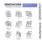 life stages of a woman   line... | Shutterstock .eps vector #1853452927