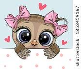 greeting card cute cartoon owl... | Shutterstock .eps vector #1853459167