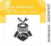 repair wheels icon with high...