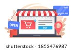laptop with electronic commerce ... | Shutterstock . vector #1853476987