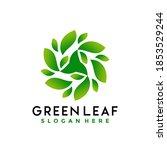 green leaves logo designs...   Shutterstock .eps vector #1853529244