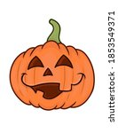 funny pumpkin with face for... | Shutterstock .eps vector #1853549371