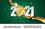 2021 green happy new year... | Shutterstock .eps vector #1853556331