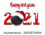 snowy new year numbers 2021 and ... | Shutterstock .eps vector #1853574544