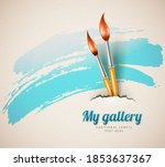 artist brushes for drawing from ...   Shutterstock . vector #1853637367