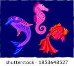 vector dolphin sea horse and... | Shutterstock .eps vector #1853648527