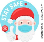 santa claus with face mask and... | Shutterstock .eps vector #1853693674