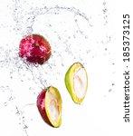 mango with water splash... | Shutterstock . vector #185373125