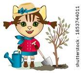 Gardener Cat Girl In A Coat An...