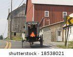 Amish Buggy With Two Men With...
