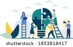 people connect the puzzle... | Shutterstock .eps vector #1853818417