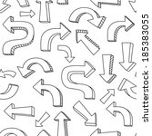 sketchy black and white arrows... | Shutterstock .eps vector #185383055