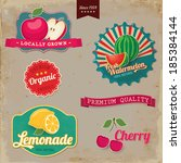vintage fruit labels. vintage... | Shutterstock .eps vector #185384144