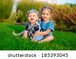happy sister and brother...   Shutterstock . vector #185393045