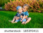 happy kids together in the park ... | Shutterstock . vector #185393411