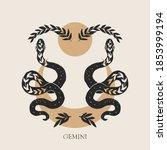 Zodiac Sign Gemini In Boho...