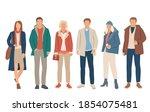 set of young men and women...   Shutterstock .eps vector #1854075481