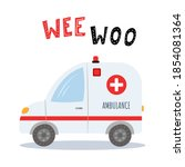 ambulance in flat cartoon style ... | Shutterstock .eps vector #1854081364