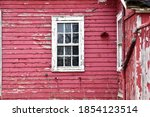 Weathered Red Barn Wall And...