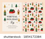 virtual holiday party... | Shutterstock .eps vector #1854172384