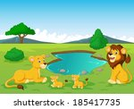 Cartoon lion family near watering hole - stock vector