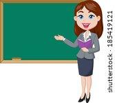 Cartoon Female Teacher Standin...