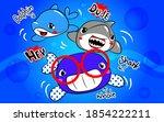 Cute  Shark Cartoon On Blue  ...