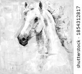White Grey Horse Oil Painting...