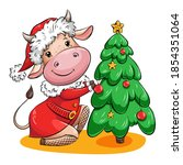 cute cartoon cow in santa suit...   Shutterstock .eps vector #1854351064