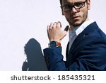 young handsome man wearing... | Shutterstock . vector #185435321