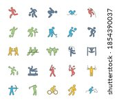 sport hand drawn linear doodles ...