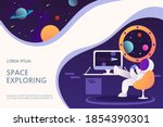 an astronaut in a spaceship is... | Shutterstock .eps vector #1854390301