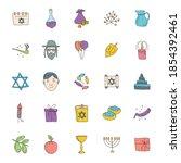 hanukkah hand drawn linear...