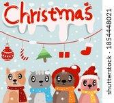 christmas four legged christmas ... | Shutterstock . vector #1854448021