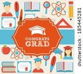 graduation design over beige ... | Shutterstock .eps vector #185445281