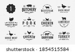 set of farm animals logo and... | Shutterstock .eps vector #1854515584
